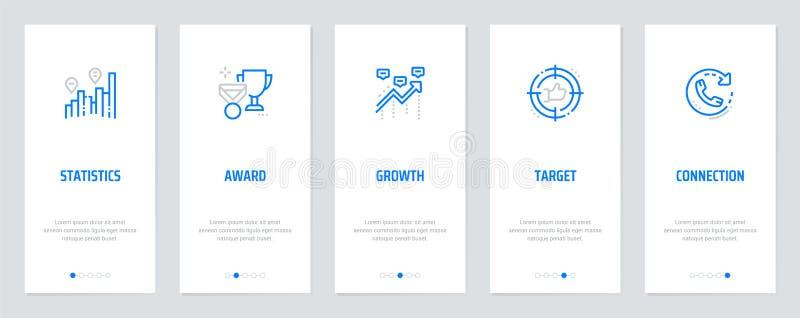 Statistik utmärkelse, tillväxt, mål, vertikala kort för anslutning med starka metaforer stock illustrationer