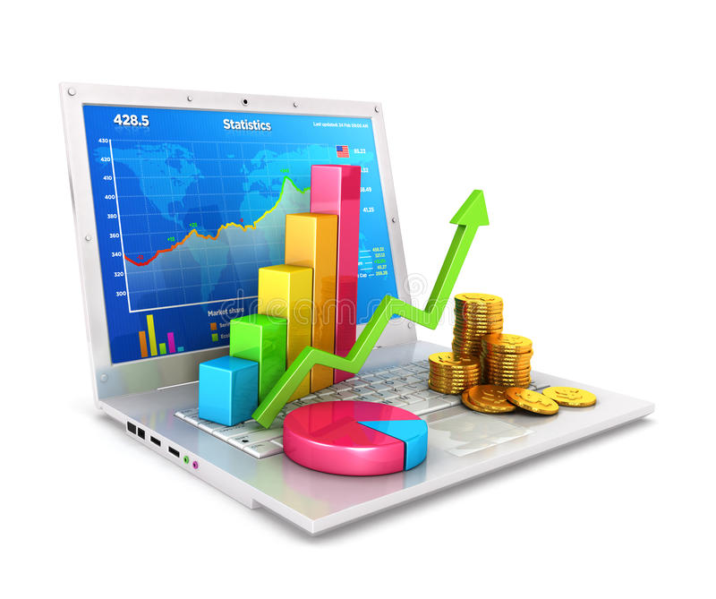Statistiken 3d über Laptop lizenzfreie abbildung