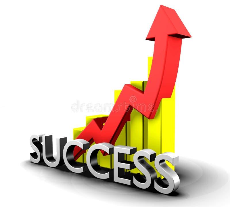 Statistiken grafisch mit Erfolgswort lizenzfreie abbildung