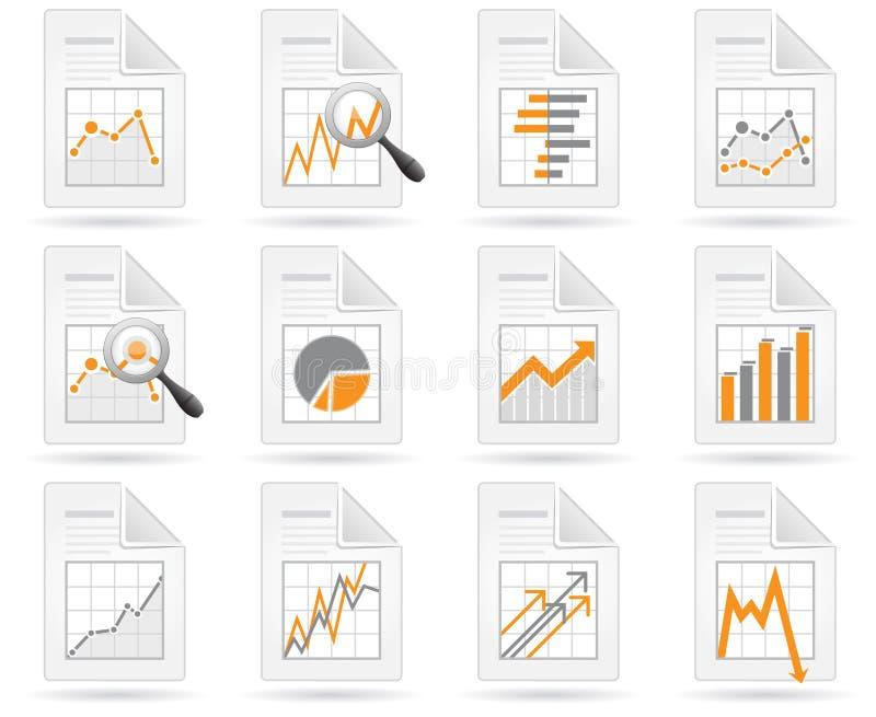 Statistiken und analytics Dateiikonen vektor abbildung