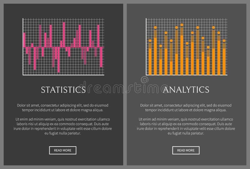 Statistiken und Analytik eingestellte Vektor-Illustration lizenzfreie abbildung