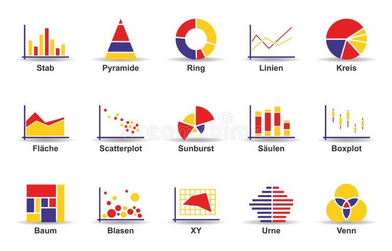 Statistiksymbolsuppsättning vektor illustrationer
