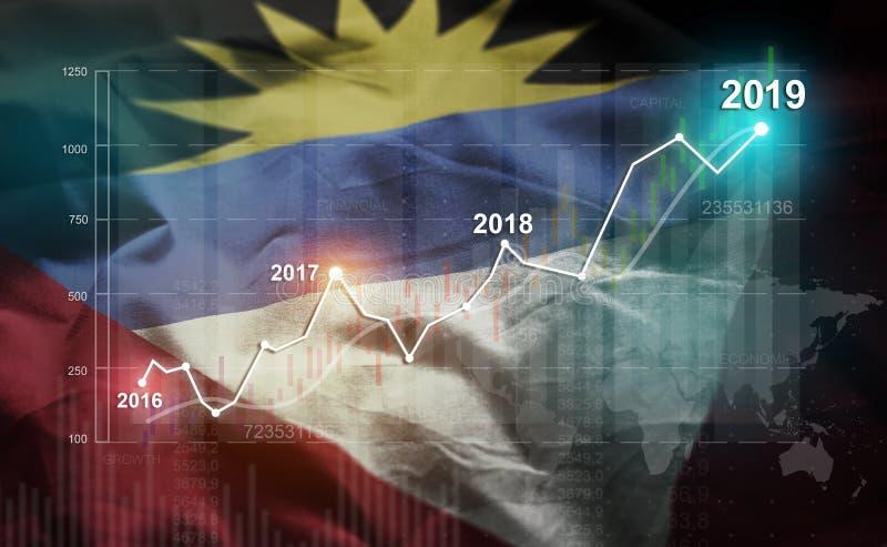 Statistique croissante 2019 financier contre l'Antigua-et-Barbuda Fla illustration de vecteur
