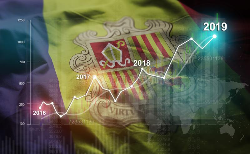 Statistique croissante 2019 financier contre le drapeau de l'Andorre illustration stock