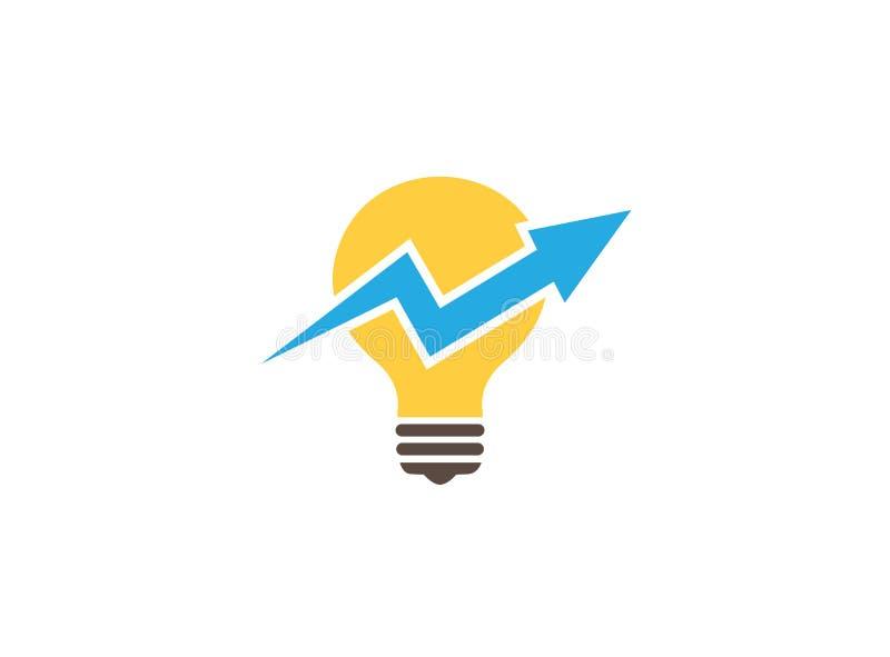 Statistique de flèche à travers la lampe pour la conception de logo illustration de vecteur