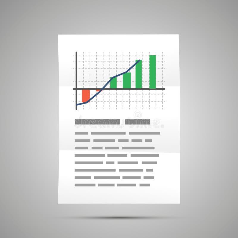 Statistique financière avec le diagramme coloré, icône de document de la taille A4 avec l'ombre sur le gris illustration stock