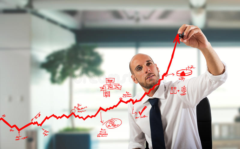 Statistiques commerciales ascendantes photos stock