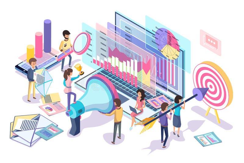 Statistiques de Digital rassemblant et analysant l'affiche illustration libre de droits