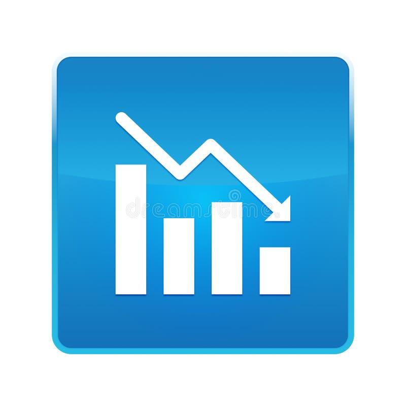 Statistiques en bas de bouton carré bleu brillant d'icône illustration libre de droits