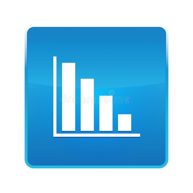 Statistiques en bas de bouton carr? bleu brillant d'ic?ne illustration stock