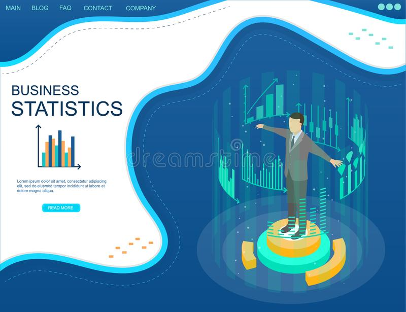 Statistisch analyseconcept in isometrische mening vector illustratie