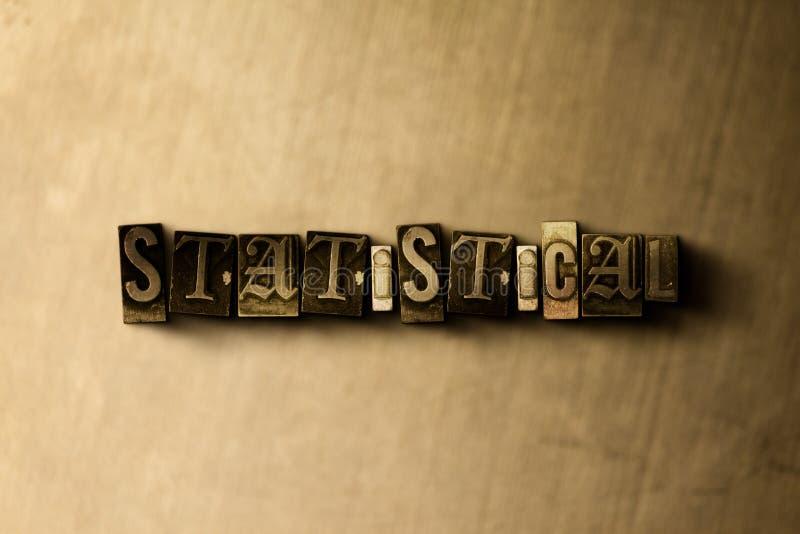 STATISTISCH - close-up van grungy wijnoogst gezet woord op metaalachtergrond stock illustratie