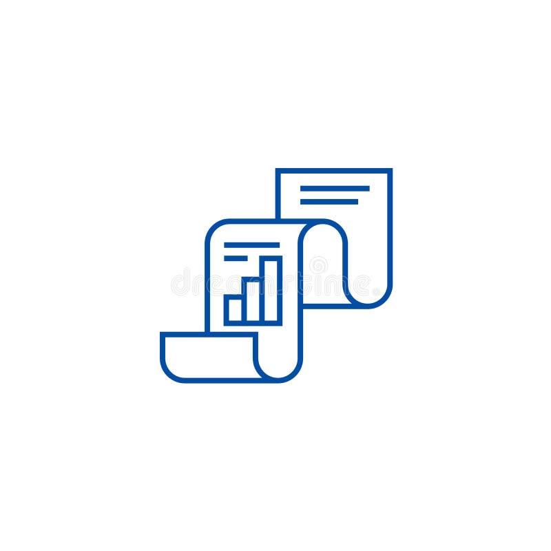 Statistisch verslag, het pictogramconcept van de statistiekenlijn Statistisch verslag, statistieken vlak vectorsymbool, teken, ov royalty-vrije illustratie