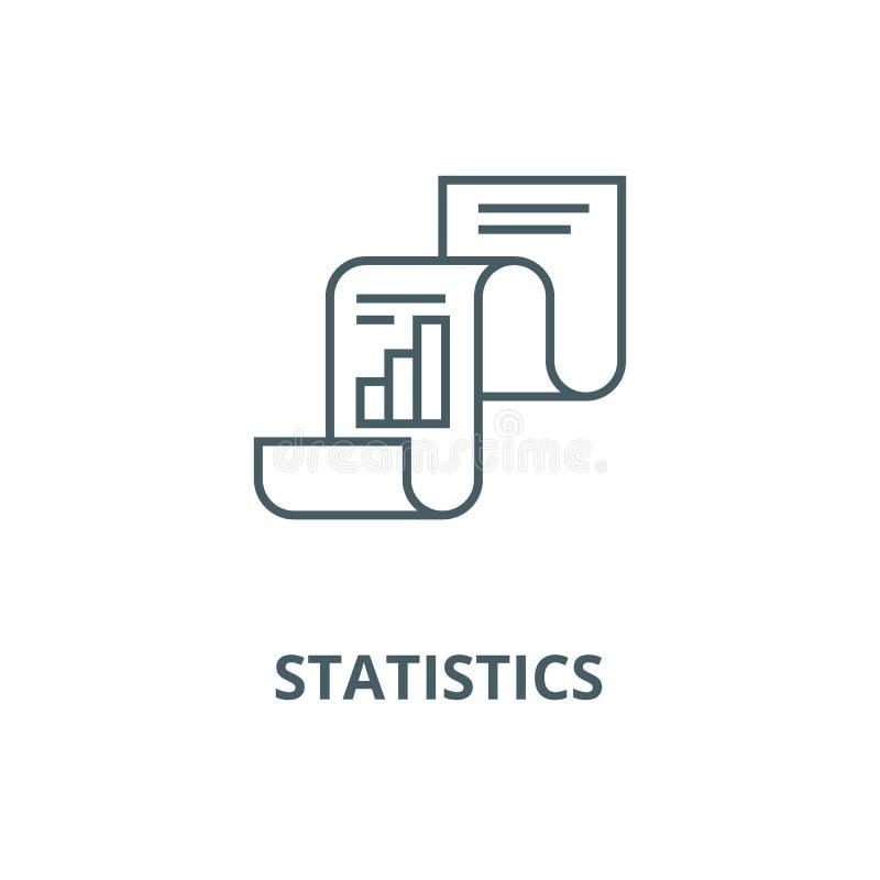 Statistisch verslag, pictogram van de statistieken het vectorlijn, lineair concept, overzichtsteken, symbool stock illustratie
