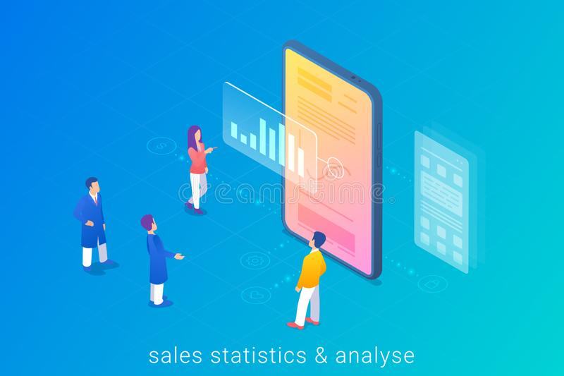 Statistischer Bericht und Analyse der Online-Verkäufe Menschen, die mit Mobiltelefon arbeiten Smartphone Isometric Flat Vektor Il lizenzfreie abbildung