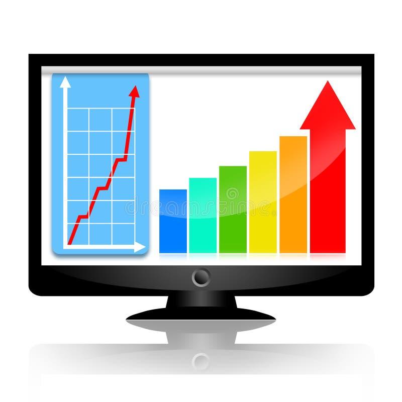 Statistisches Diagramm des Geschäfts auf Überwachungsgerät vektor abbildung