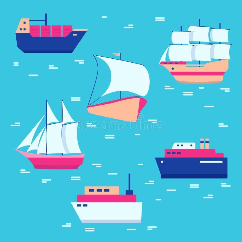 Statków i łodzi ikony inkasowe w mieszkaniu projektują ilustracja wektor