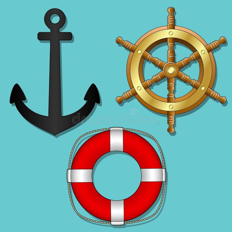 statków przedmioty odosobniony wektor ilustracji