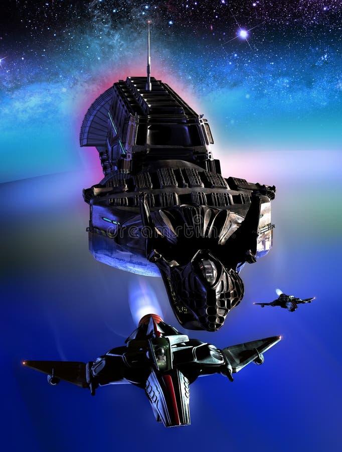 Statki kosmiczni i planeta royalty ilustracja