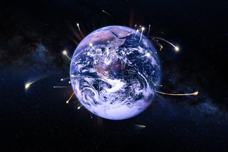 Statki kosmiczni opuszczają ziemię, nauki fikcja Elementy ten wizerunek meblujący NASA zdjęcia royalty free