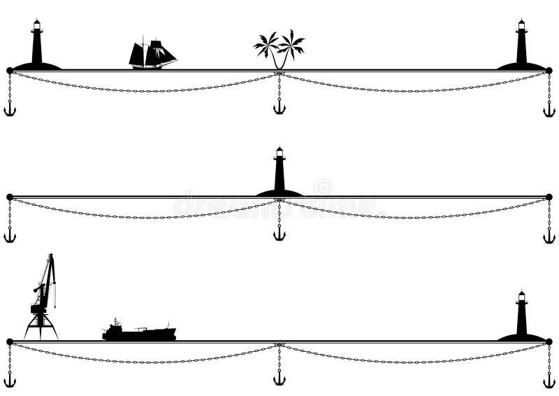 Statki, palma, latarnia morska i kotwica, ilustracji