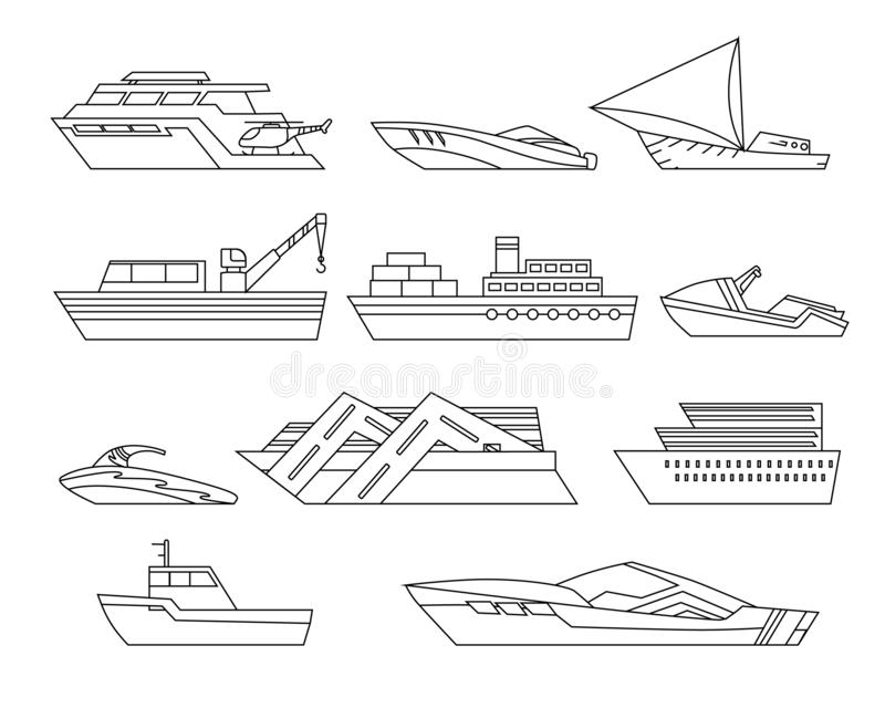 Statki przy morzem, wysy?a ?odzie, oceanu transportu wektor royalty ilustracja