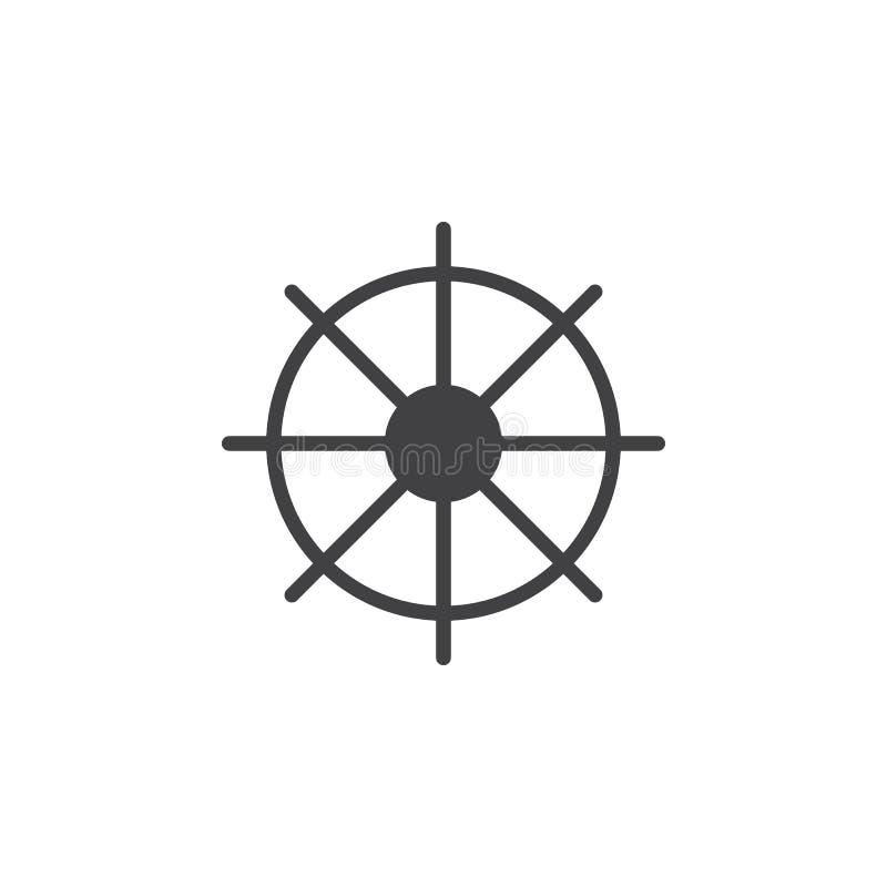 Statki toczą ikona wektor, wypełniający mieszkanie znak, stały piktogram odizolowywający na bielu royalty ilustracja