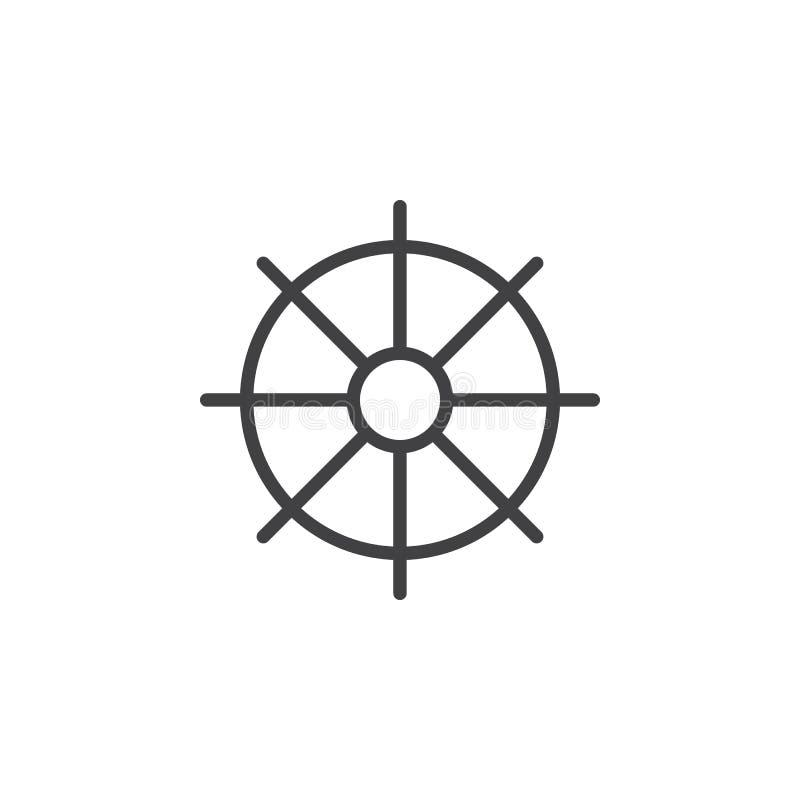 Statki toczą, ster kreskowa ikona, konturu wektoru znak, liniowy stylowy piktogram odizolowywający na bielu ilustracja wektor