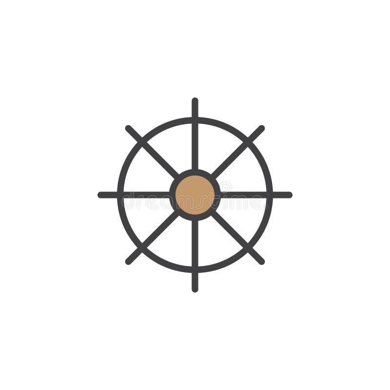 Statki toczą, ster kreskowa ikona, wypełniający konturu wektoru znak, liniowy kolorowy piktogram odizolowywający na bielu ilustracji