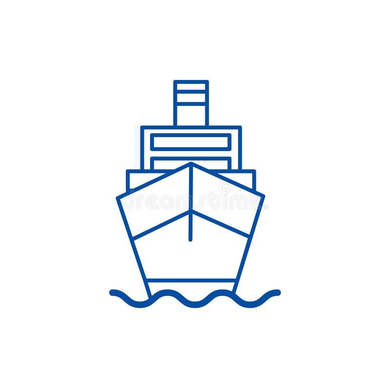 Statku ładunek, logistyki ikony kreskowy pojęcie Wysyła ładunek, logistyka płaski wektorowy symbol, znak, kontur ilustracja ilustracji