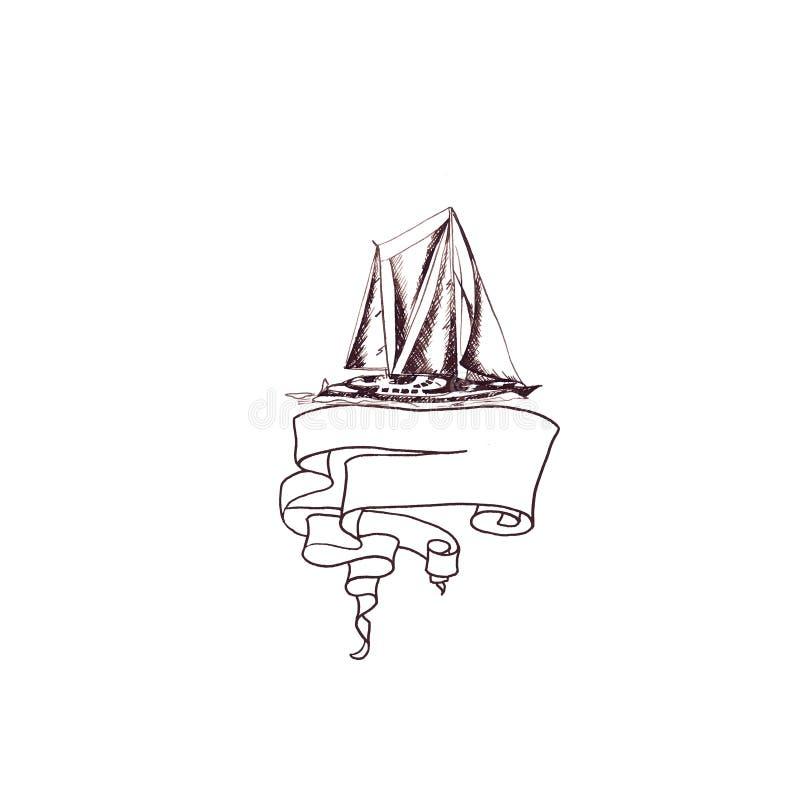 Statku żeglowania jachtu antykwarski rocznik z faborek ramą wirował brązu atramentu rękę ilustracja wektor