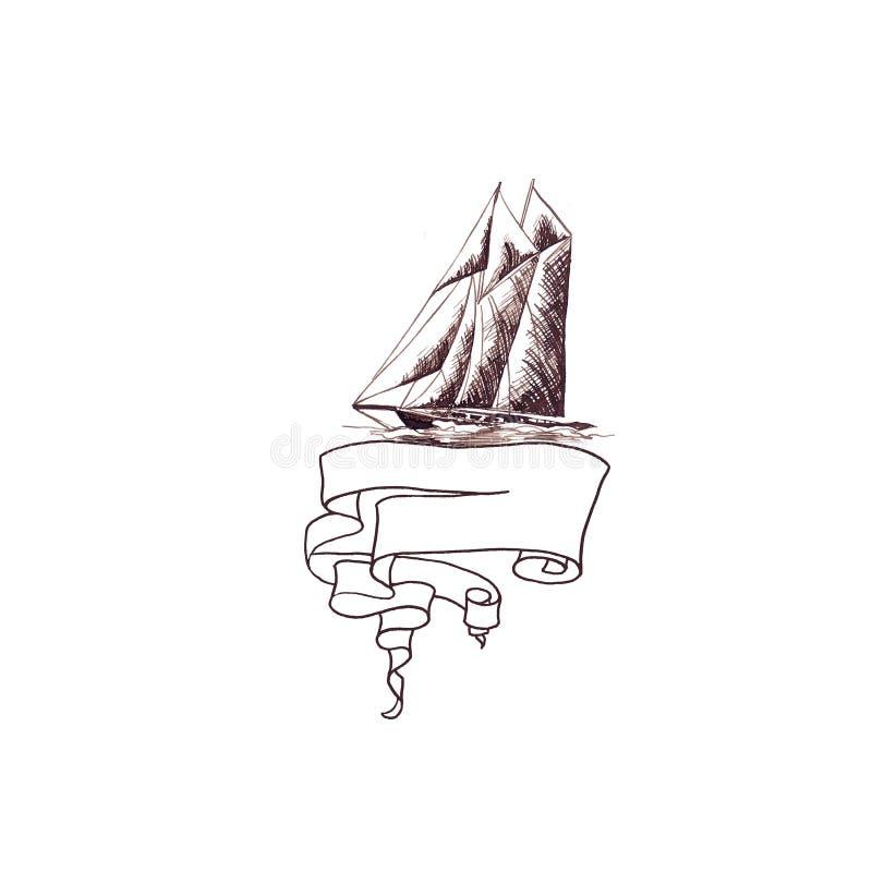 Statku żeglowania jachtu antykwarski rocznik z faborek ramą wirował brązu atramentu rękę royalty ilustracja