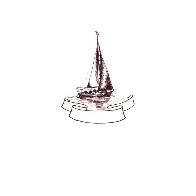 Statku żeglowania jachtu antykwarski rocznik z faborek ramą wirował brązu atramentu ręki rysunek royalty ilustracja