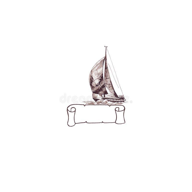 Statku żeglowania jachtu antykwarski rocznik z faborek ramą wirował brązu atramentu ręki rysunek ilustracji