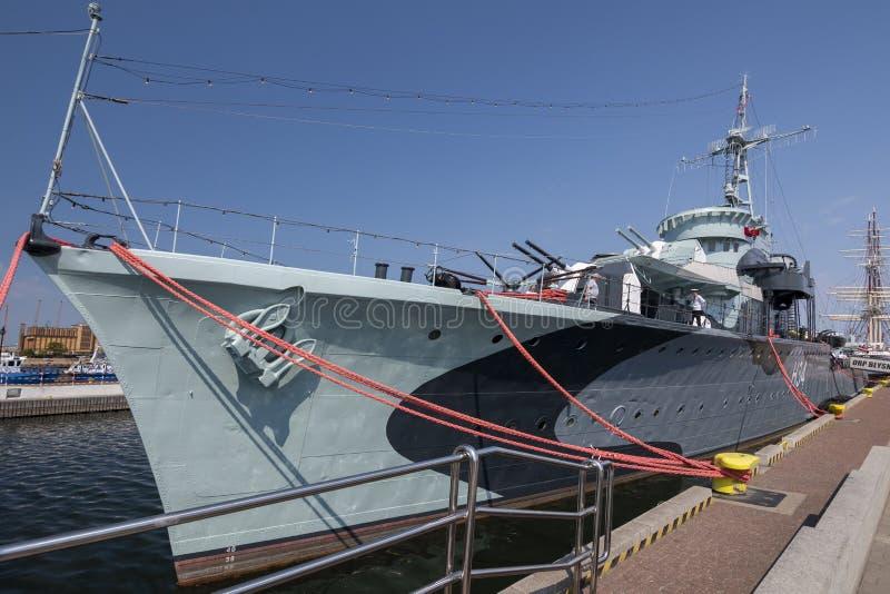 Statku Groma klasy niszczyciela ORP Blyskawica muzealny piorun w porcie Gdynia miasto, Polska obraz royalty free
