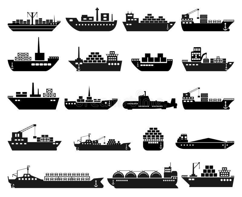Statku i łodzi ikony set royalty ilustracja