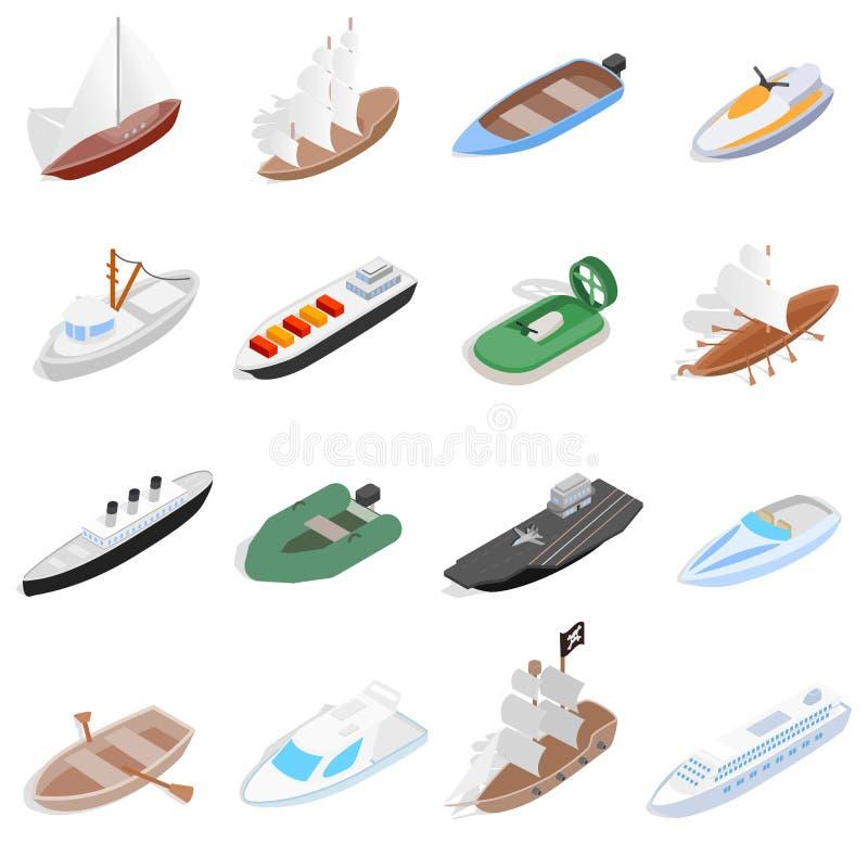 Statku i łodzi ikony ustawiać, isometric 3d styl ilustracja wektor