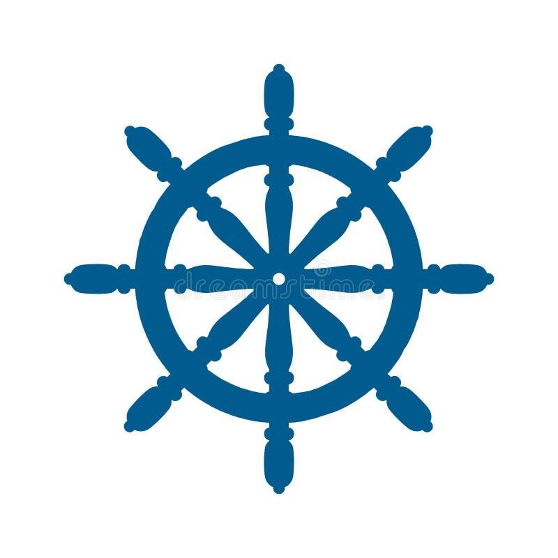 Statku i łodzi steru kierownicy łódkowatej i morskiej rudder ikona, statek kierownicy - wektor royalty ilustracja