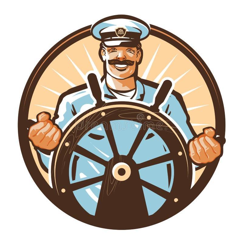 Statku kapitanu wektoru logo rejsu, podróży, wycieczki turysycznej, wycieczki lub podróży ikona, royalty ilustracja
