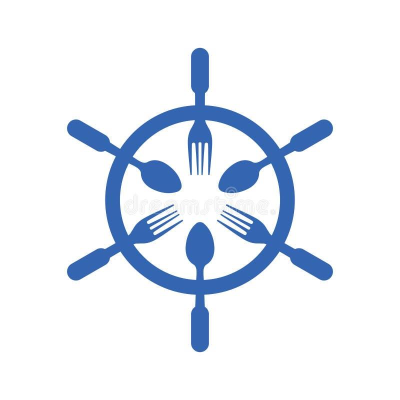 Statku koła Sterowniczego owoce morza symbolu Karmowy logo ilustracja wektor