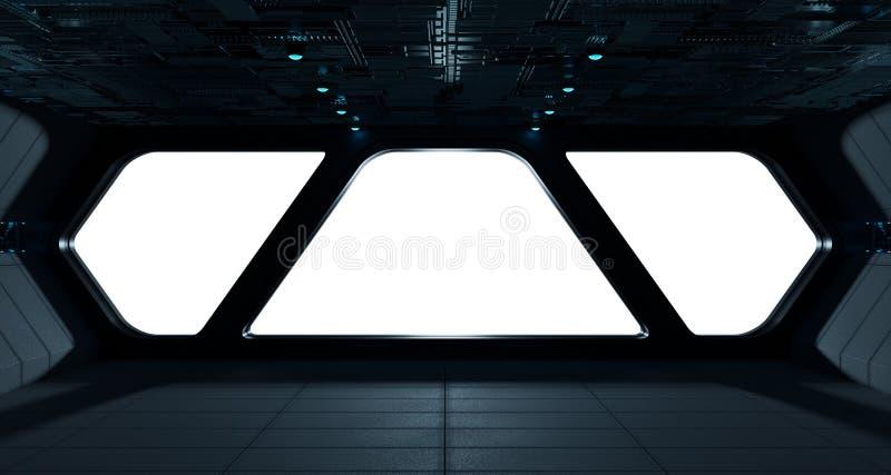 Statku kosmicznego futurystyczny wnętrze z nadokiennym widokiem ilustracja wektor