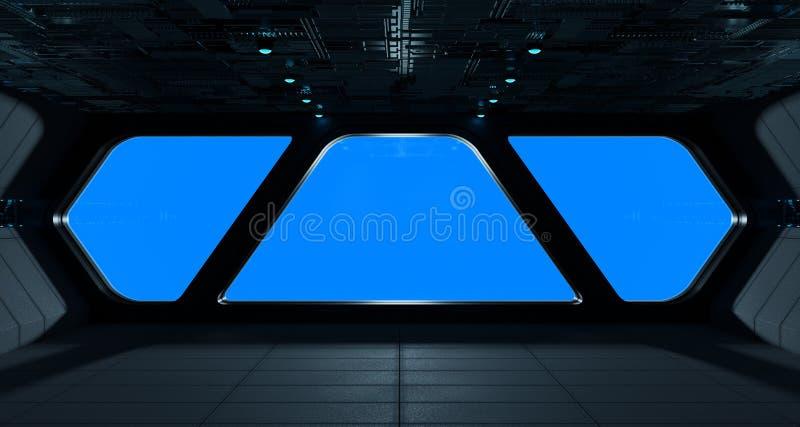 Statku kosmicznego futurystyczny wnętrze z nadokiennym widokiem ilustracji
