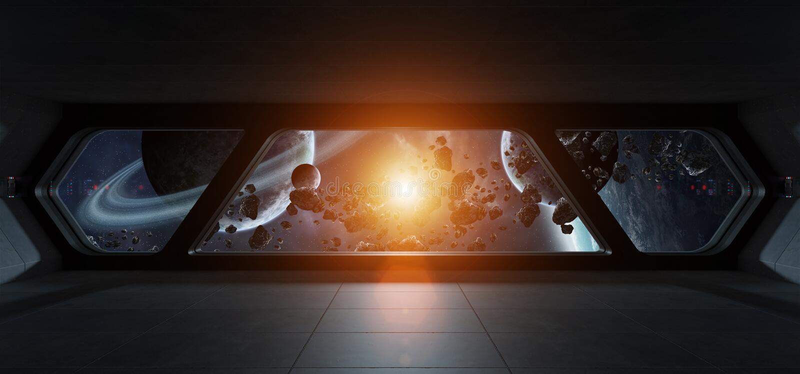 Statku kosmicznego futurystyczny wnętrze z widokiem na exoplanet ilustracji
