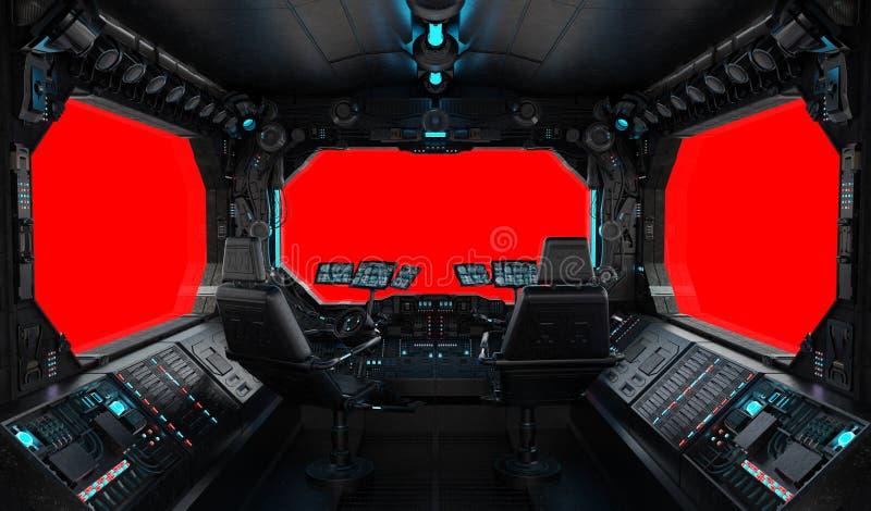 Statku kosmicznego grunge wewnętrzny okno odizolowywający royalty ilustracja