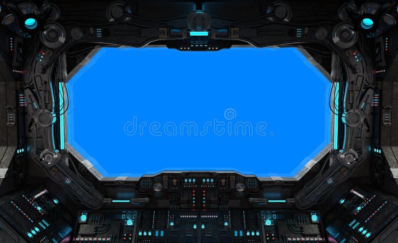 Statku kosmicznego grunge wewnętrzny okno odizolowywający ilustracja wektor