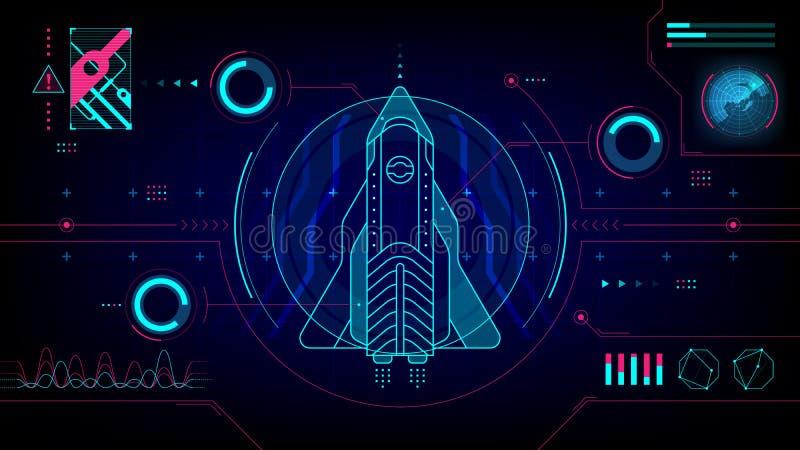 Statku kosmicznego HUD futurystycznej technologii komputerowy pokaz royalty ilustracja