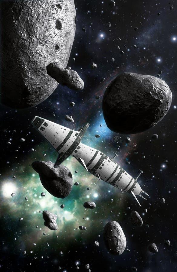Statku kosmicznego i asteroidy pole royalty ilustracja