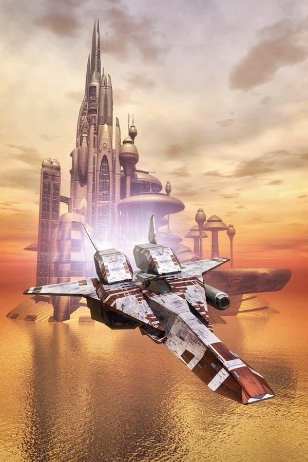 Statku kosmicznego i morza miasto ilustracja wektor