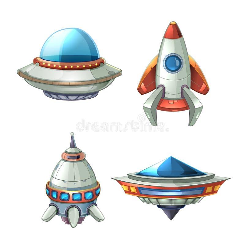 Statku kosmicznego i UFO wektorowy ustawiający w kreskówka stylu ilustracji