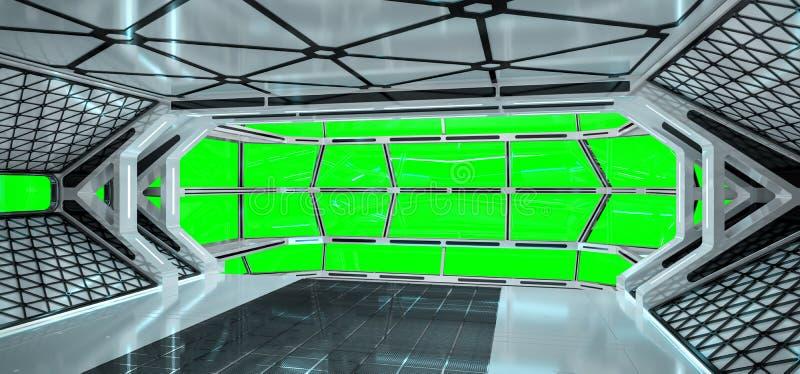 Statku kosmicznego jaskrawy wnętrze z 3D renderingiem ilustracja wektor